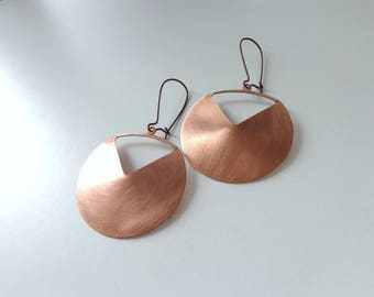 copper earrings, circle earrings, copper disk earrings