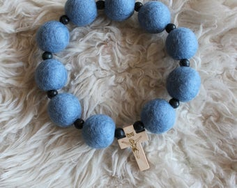 Blue Felt Ball Decade Rosary