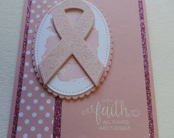 Fancy Breast Cancer Ribbon Card