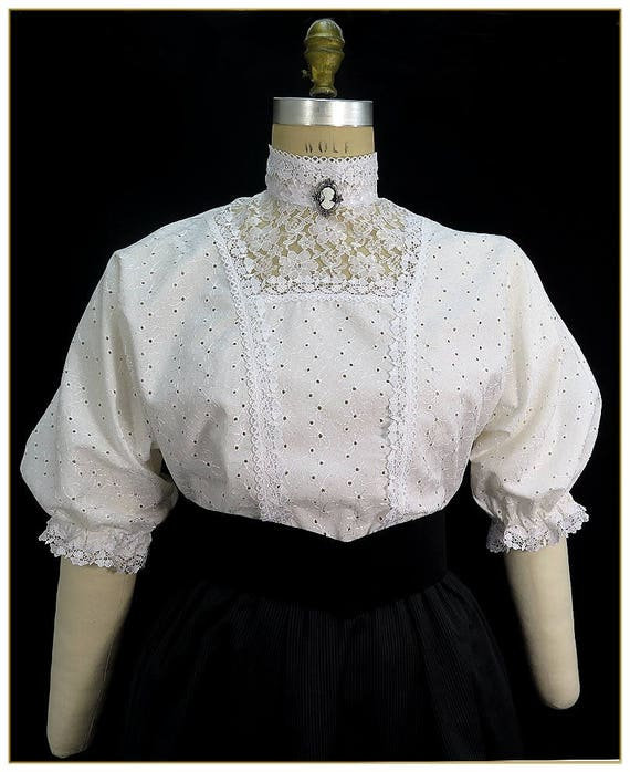 Edwardian Blouses | White & Black Lace Blouses & Sweaters Shamrock Eyelet BlouseShamrock Eyelet Blouse $92.00 AT vintagedancer.com