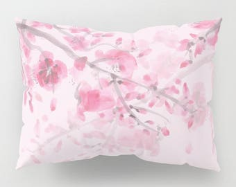 Pink Cherry Blossom Pillow Case - feminine pink blossoms, floral, feminine, soft bedroom decor, art, curate the bedroom