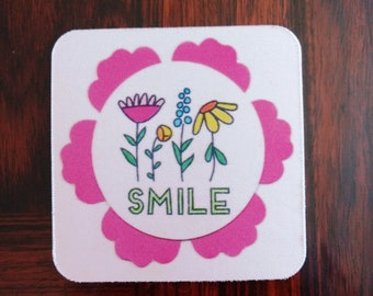 Smile Coasters - Fun Coasters - Fun Coaster Set - Coasters that say Smile