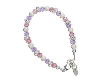 Girls Sterling Silver Freshwater pearl and Swarovski Crystal Bracelet Comes in Gift Box (Natalee)
