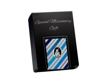 LDS Missionary Gift with Blue Stripe Tie and Stripling Warrior Tie Pin Gift Set in Gift Box (MTP-Blue Stripe)