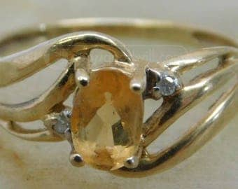 Vintage 14k Gold and Citrine Ring Sz 3 1/2