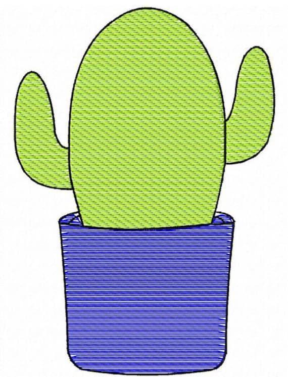 Cactus sketch embroidery design
