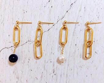 Sweet Encounter Collection | Asymmetrical Earrings, Oval Chain Earrings, Pearl Bead Earrings, Blue Sand Bead Earrings, Sister Earrings