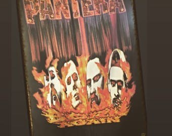 1995 Pantera Winterland Silk Flag, 30 X 42, XXL, 95 Pantera Band Flames Flag, 1995 Vintage Pantera Authentic Heart Rock Italy Banner