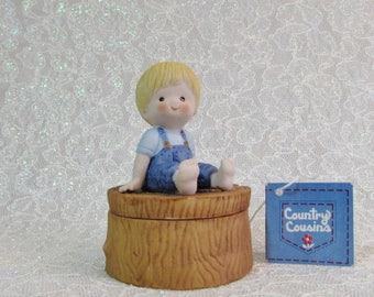 Vintage Enesco Scooter Figurine Trinket Box, Country Cousins,1980