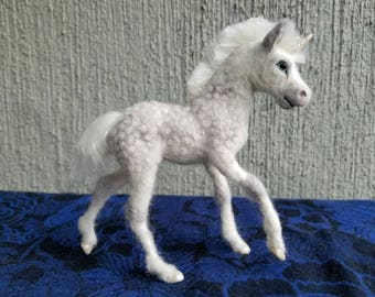 Custom Needle felted wool Horse or Unicorn Foal for Gabrielle, felted by Carol Rossi