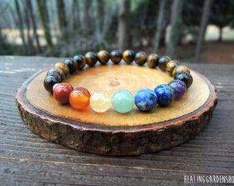 Tiger Eye Chakra Energy Bracelet // Bridesmaid Gift // Negative Energy Protection // Holistic Jewelry // Spiritual // Healing Garden Shop