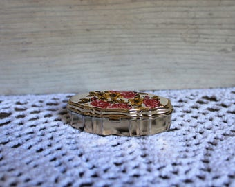 Vintage. Pill box. Floral. Compact. Gold. Flower picture. Very cute!