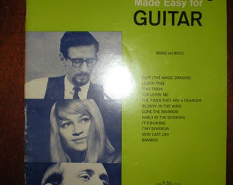 Hits of Peter, Paul & Mary Made Easy for Guitar Song Book Words and Music