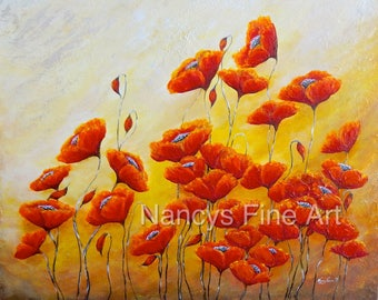 Red poppy painting print, colorful red and gold poppy art, large poppy wall art on canvas, original artwork by Nancy Quiaoit.