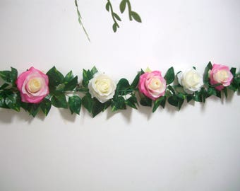 Silk Flower Garland,Wedding Garland,Arch decor,Pink Rose Garland,Wedding Backdrop,Floral Greenery Garland,Hanging Flower,Curtain,Centerpiece