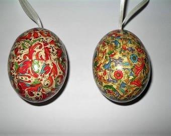 2 easter eggs chicken italian paper decoupage decopatch
