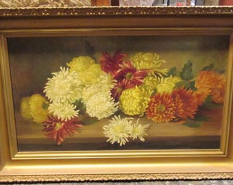 Floral Still Life Painting Late 19th Century