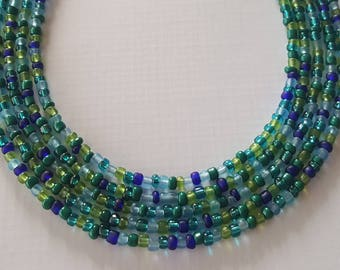 Blue and green seed bead necklace in your choice of lengths - seed bead necklace- blue necklace- green necklace