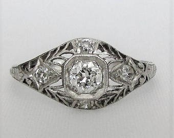 PLATINUM VS2 Diamond Filigree Engagement or Right Hand Ring - GIA Graduate Gemologist Appraisal Included, 1,490 Usd!