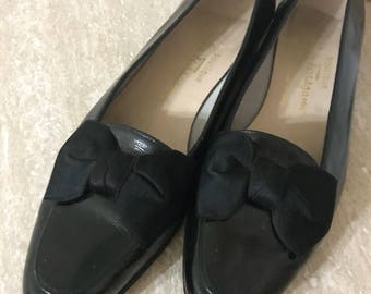 Salvatore Ferragamo Black Patent Leather Bow Flats - Salvatore Ferragamo Black Flats