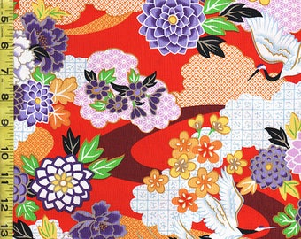 Japanese Asian Quilting Sewing Fabric - Flying Cranes and Floral Clouds - Red