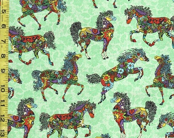 SALE -  Novelty - Colorful Floral Painted Ponies - Green