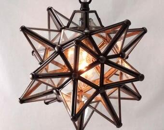 "Moravian Star Pendant Light, Clear Glass, 9"""