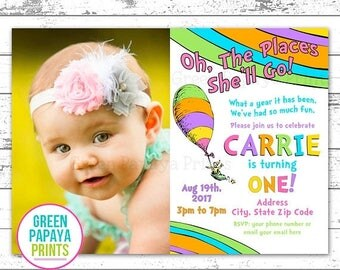 25% OFF Oh The Places You'll Go Birthday Invitation - Printable - First Birthday - 1st Birthday - Photo Option - Digital File