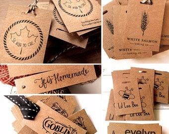 100 KRAFT TAGS, custom hang tag, favor tag, personalized rustic tag , kraft name tag, étiquette kraft, carta kraft, kraft wedding favor tag