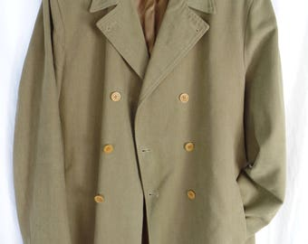 vintage ROMEO GIGLI mens khaki canvas double breasted jacket/ satorial classic coat/ made in Italy: size It 50 =Us mens 40