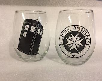 DrWho  time lord, companion, stemless wineglasses, tardis, T.A.R.D.I.S. St John Ambulance, pair, set of two