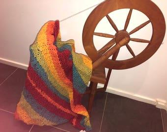 Crocheted Lapghan in rainbow colours, lap blanket