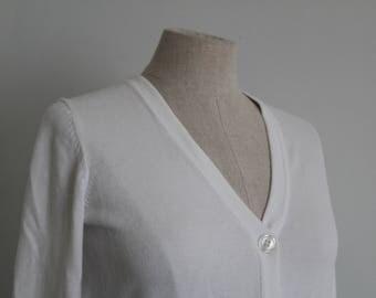 1950s Style White Cotton Cardigan Sweater