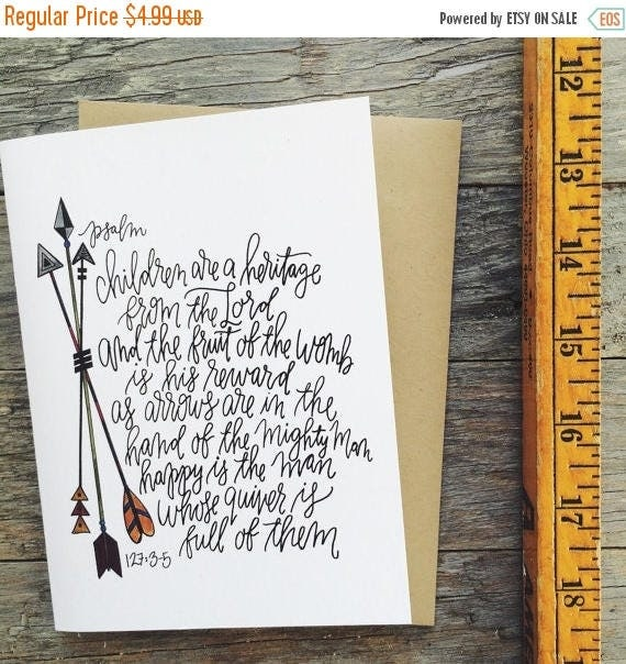 ON SALE Christian Father's Day card, psalm 127, children are a heritage from the Lord, quiverfull card, arrows