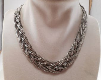 Vintage Silver Tone Woven Bib Choker Snake Chain Necklace 16 inch