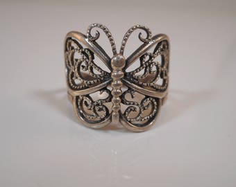 Vintage Sterling Silver Large Butterfly Ring Size 7 3/4
