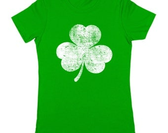 White Irish Shamrock Distressed St Patricks Day Ireland Women's Jr Fit T-Shirt DT2247