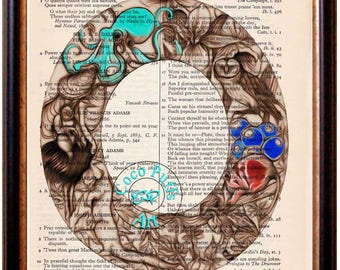 LETTER O Wildlife - Aqua Octopus - Vintage Dictionary Page Book Art Upcycled Page Art Collage Art Print Typography Art