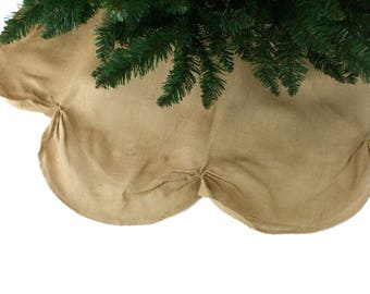 "Burlap / Jute Scalloped Tree skirts with finished edges 42"" round (TSR4-xx) Other colors available."