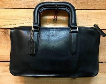 a56d75890f ... NYC Coach Briefcase Satchel Vtg Black Leather Folio Attache Bag Cashin  Era Made Vintage Coach Black Leather Cross Body Bag Purse Satchel New York  City ...