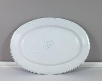 Vintage enamel Bumper Harvest serving platter - Vintage Bumper Harvest Enamel oval platter - Bumper harvest tray- serving platter