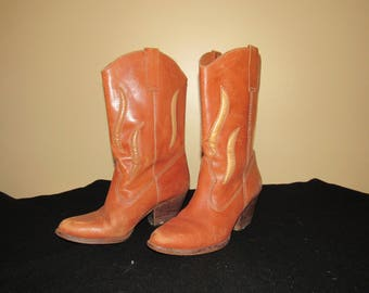 """Vtg Women's Buskens Leather Western Boots """"Santa Fe"""" 8M Camel Brown Cut Outs Stacked Heel Cowboy Cowgirl Boho Hippie 1980s"""