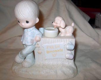 Vintage Precious Moments, 1980 Jonathan & David, Thank You for Coming to my Ade, Figurine,  Enesco, E520, WAS 25.00 - 50% = 12.50