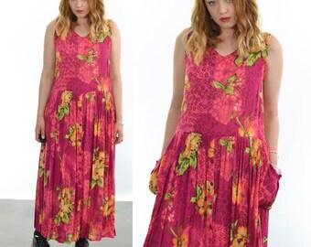 Vintage 80's Pink Floral Print Maxi Dress