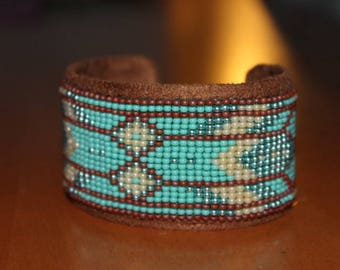 woven and sewn on a rigid adjustable beaded bracelet art deco style
