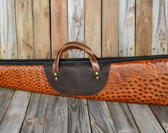 Real Ostrich Leather Shotgun Case ES-127