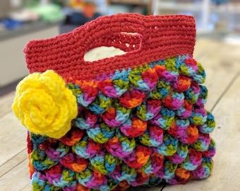 Crocheted handbag, crochet bag, rainbow purse, crocodile stitch bag, mini purse, clutch bag, crochet clutch purse, rainbow evening bag