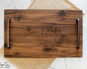 Personalized Serving Tray wedding gift - Solid Walnut Wood - Wood Serving Tray - Wooden Serving Tray - Personalized Serving Platter - 031