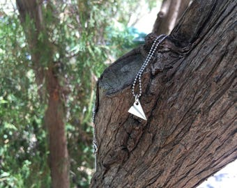 925 sterling silver necklace with origami airplane pendant