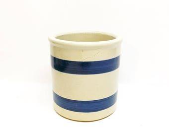 vintage roseville pottery blue striped crock/vase